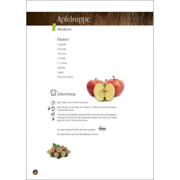 Buchseite: Rezept der Apfelsuppe